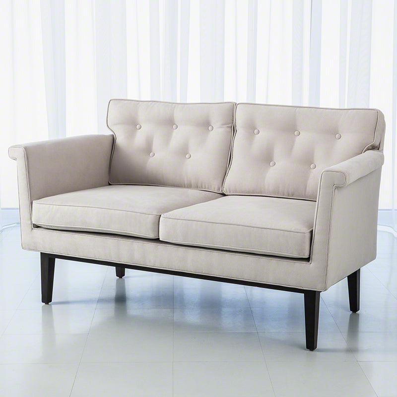 Global Views Emerywood Loveseat, Suede Arctic