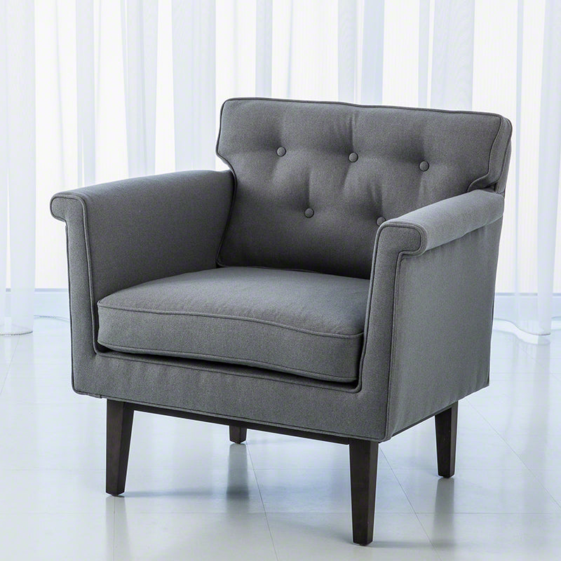 Global Views Emerywood Chair, Wool Flannel, Ash