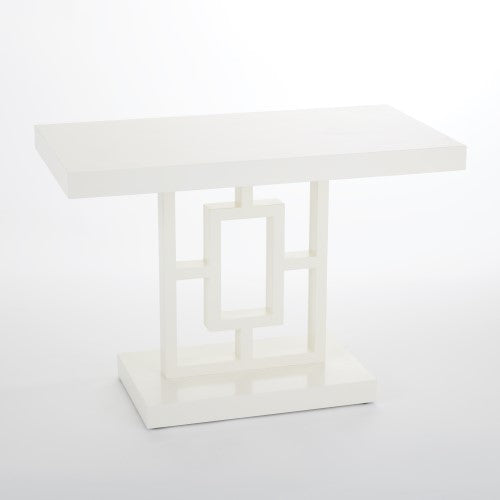 Global Views White lacquered Architectural Floating Grid Side Table