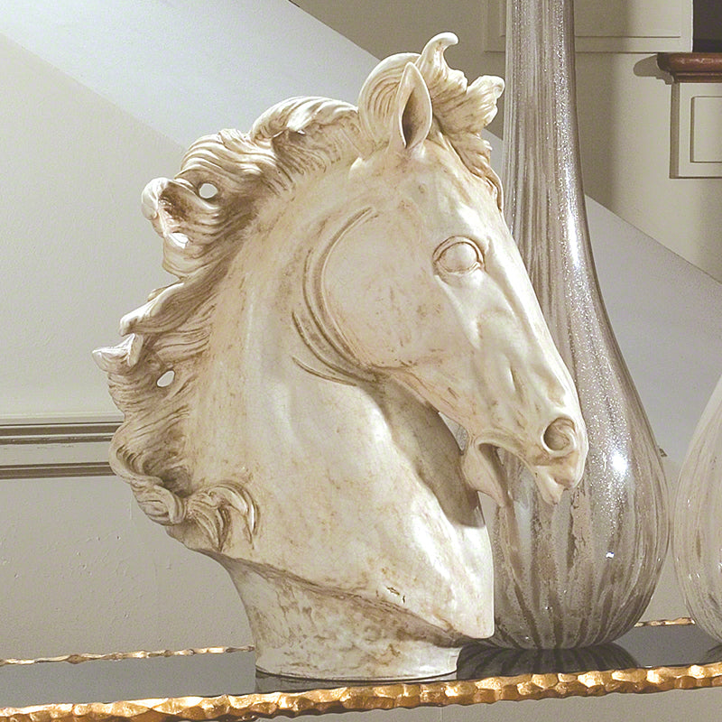 Global Views Large Horse Head Sculpture, Marble Finish