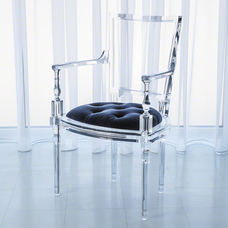 Global Views Marilyn Acrylic Arm Chair, Admiral Blue