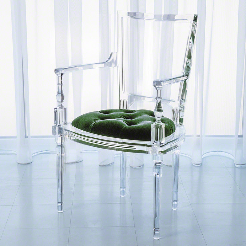 Global Views Marilyn Acrylic Arm Chair, Emerald Green