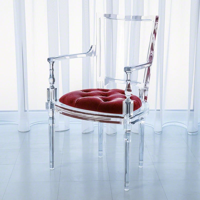 Global Views Marilyn Acrylic Arm Chair, Red Pepper