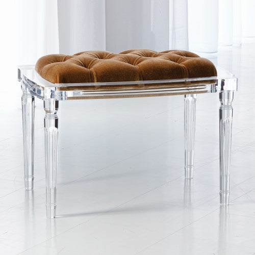 Global Views Marilyn Acrylic 4 Leg Bench Brown Sugar