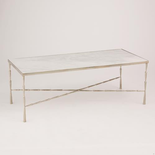 Global Views Spike Cocktail Table Antique Nickel With Marble