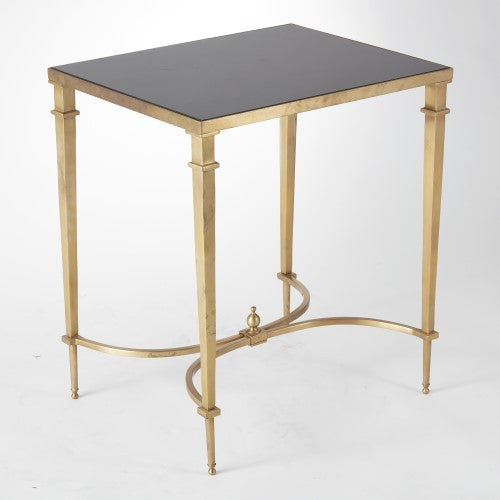 Global Views Rectangular French Square Leg Table Brass & Black Granite