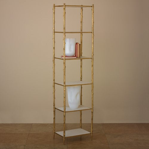 Global Views Arbor Etagere Brass and White Marble