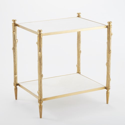 Global Views Gold Honed Marble Arbor Side Table