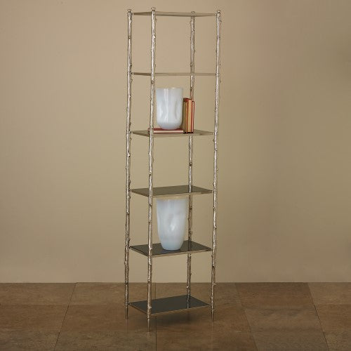 Global Views Arbor Etagere Nickel and Black Granite