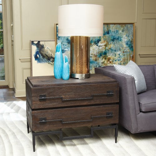 Global Views 2-Drawer Wide Chest Dark Brushed Mango
