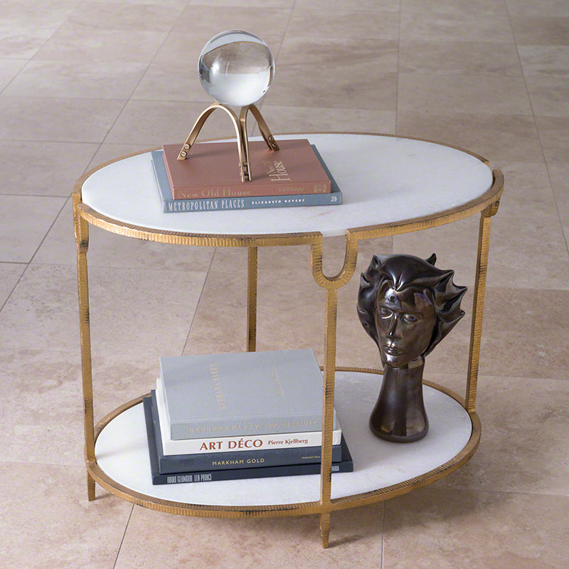 Global Views Iron and Stone Side Table
