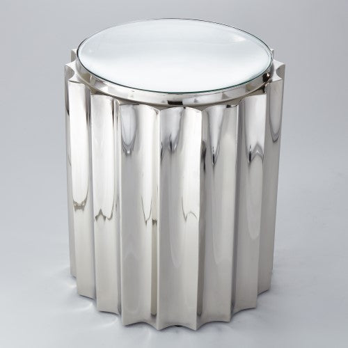Global Views Contemporary Fluted Chrome Column Side Table