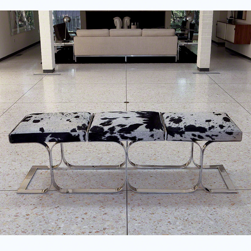 Global Views Airline Cowhide Stainless Steel Bench