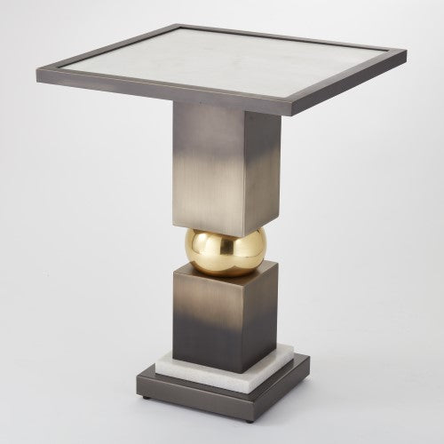 Global Views Squeeze Side Table Bronze With White Marble Top