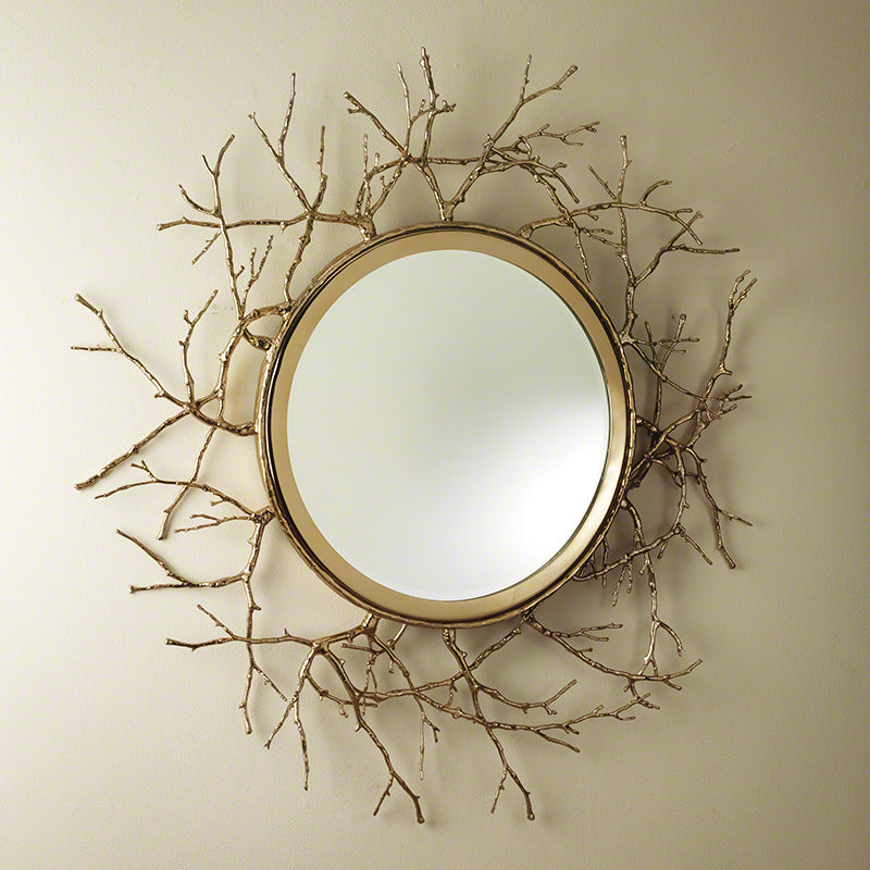 Global Views Twig Mirror Brass, Brass
