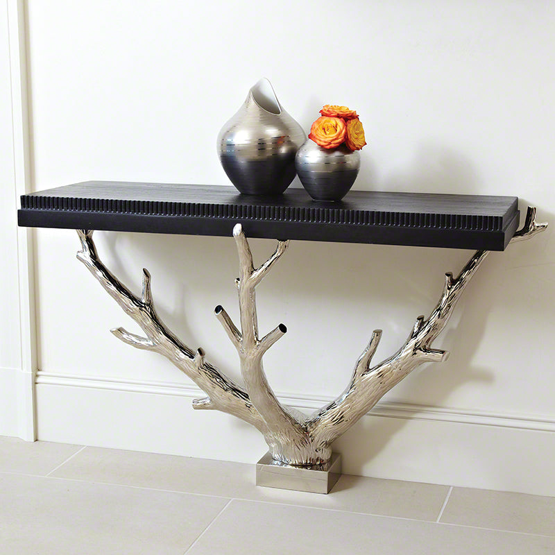 Global Views Artistic Unique Black and Steel Branch Wall Console