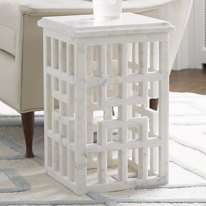 Global Views Marble Gridblock Side Table