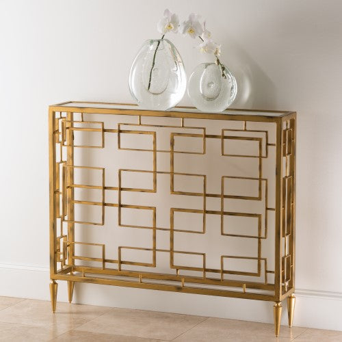 Global Views Murano Swirled Gold Open Block Console