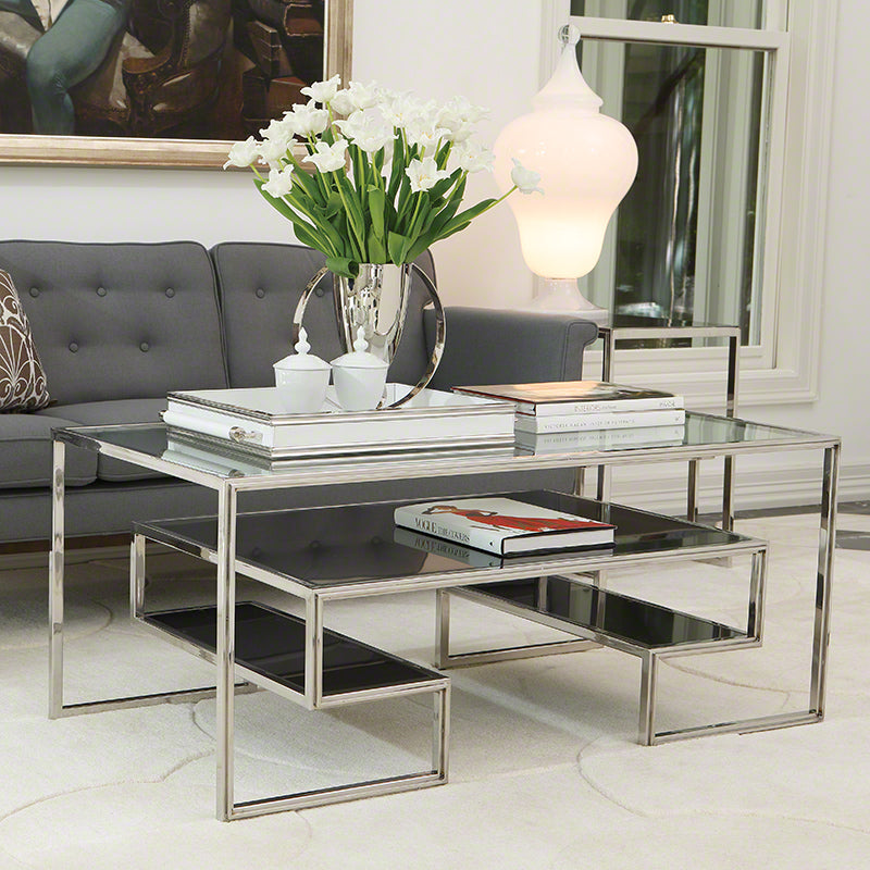 Global Views Layered Cocktail Table With Granite Shelves Stainless Steel Finish