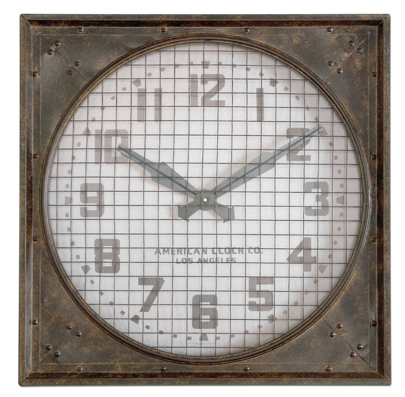 Warehouse Wall Clock W/ Grill