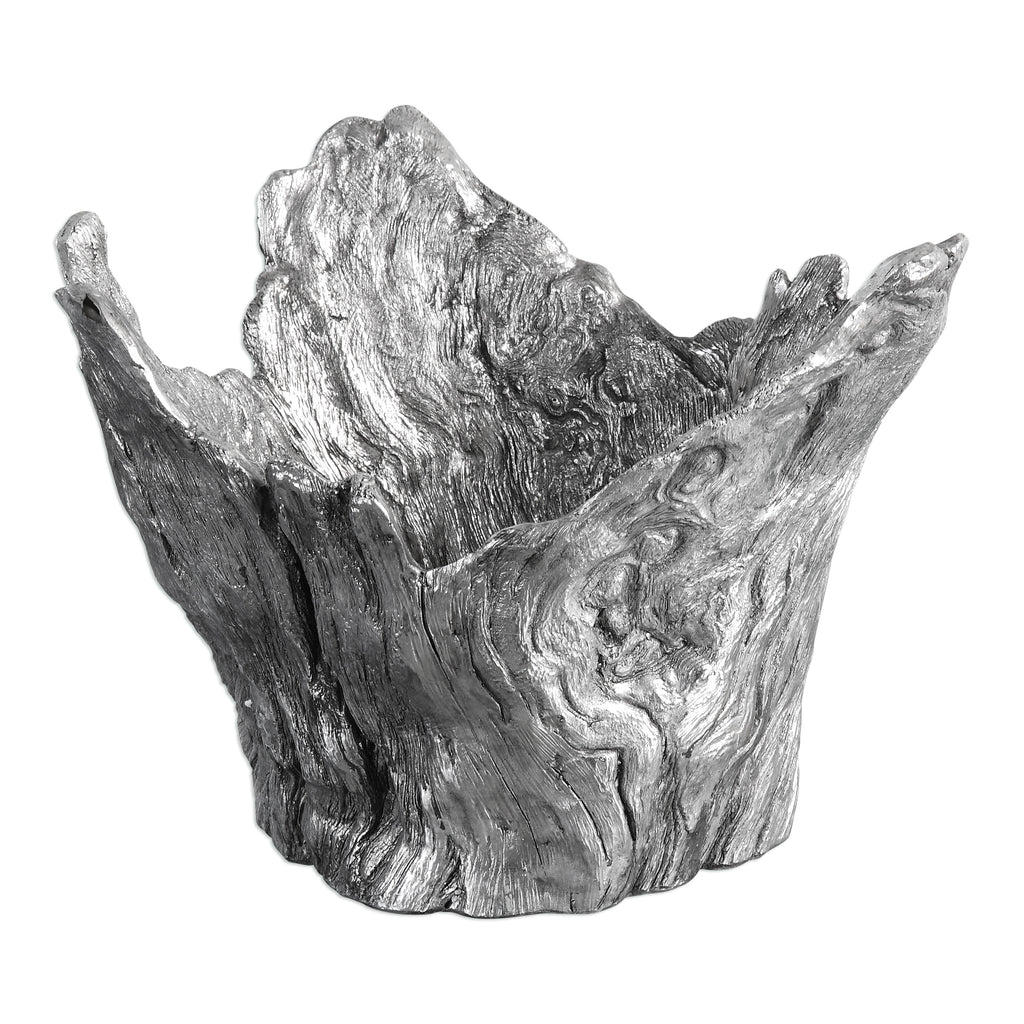 Massimo Wood Textured Silver Bowl