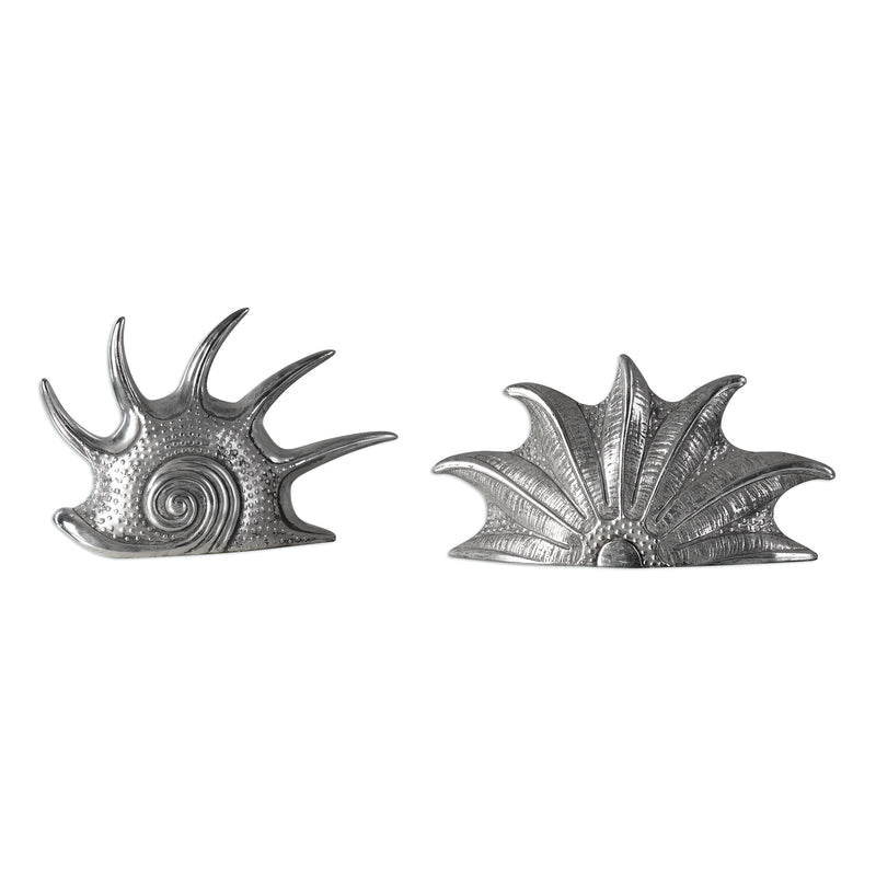 Marine Mollusc Sculptures In Bright Silver S/2
