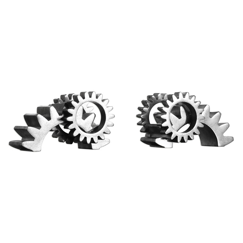 Gears Silver Bookends S/2
