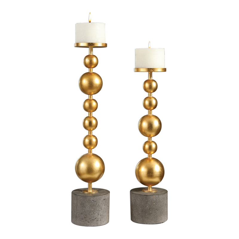 Selim Gold Sphere Candleholders S/2
