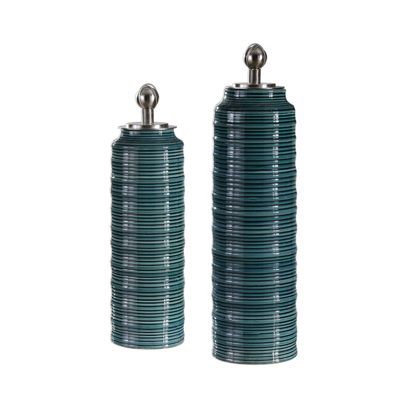 Delane Dark Teal Canisters S/2