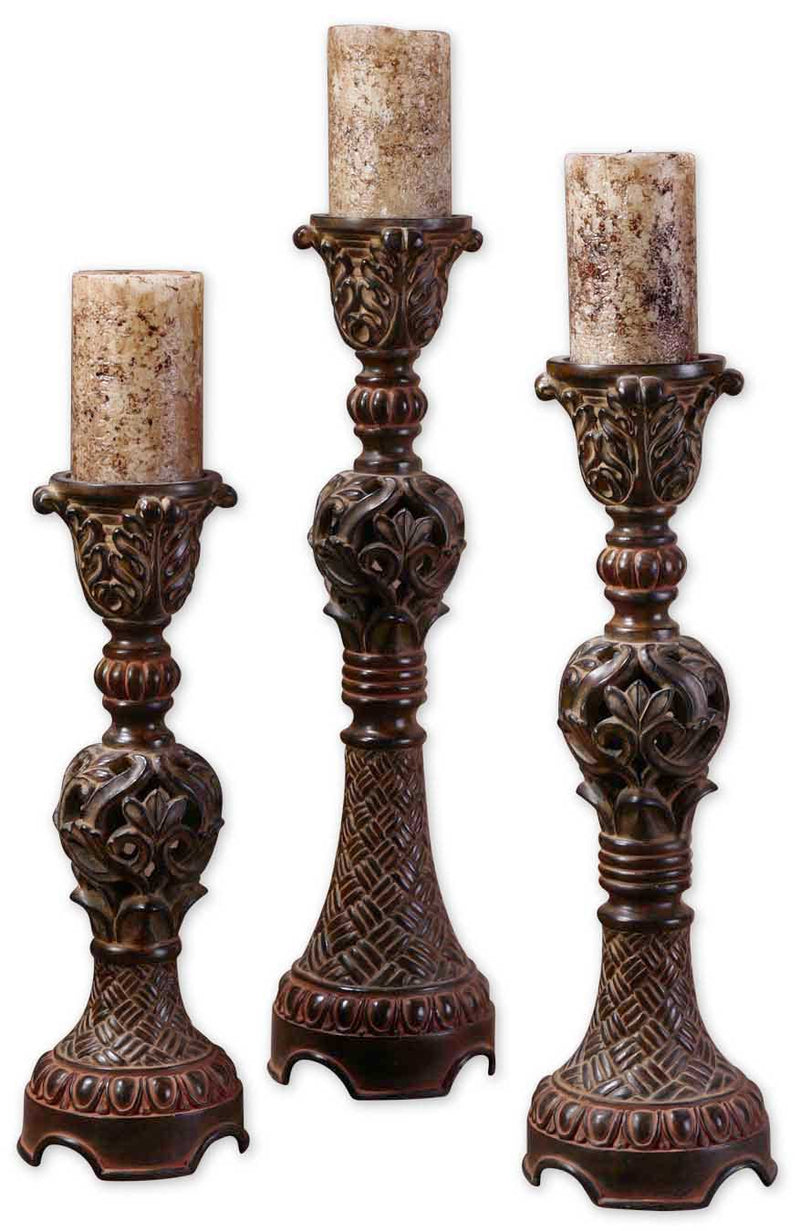 Rosina Walnut Brown Candlesticks, Set/3