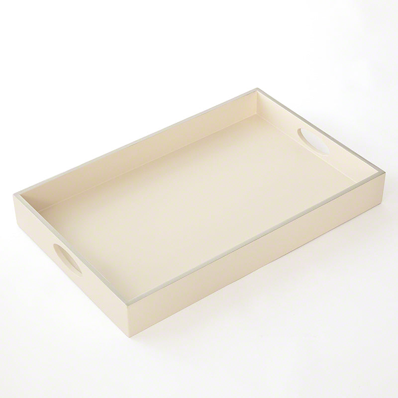 Global Views White Tray with a Silver FraMedium lacquer Rim