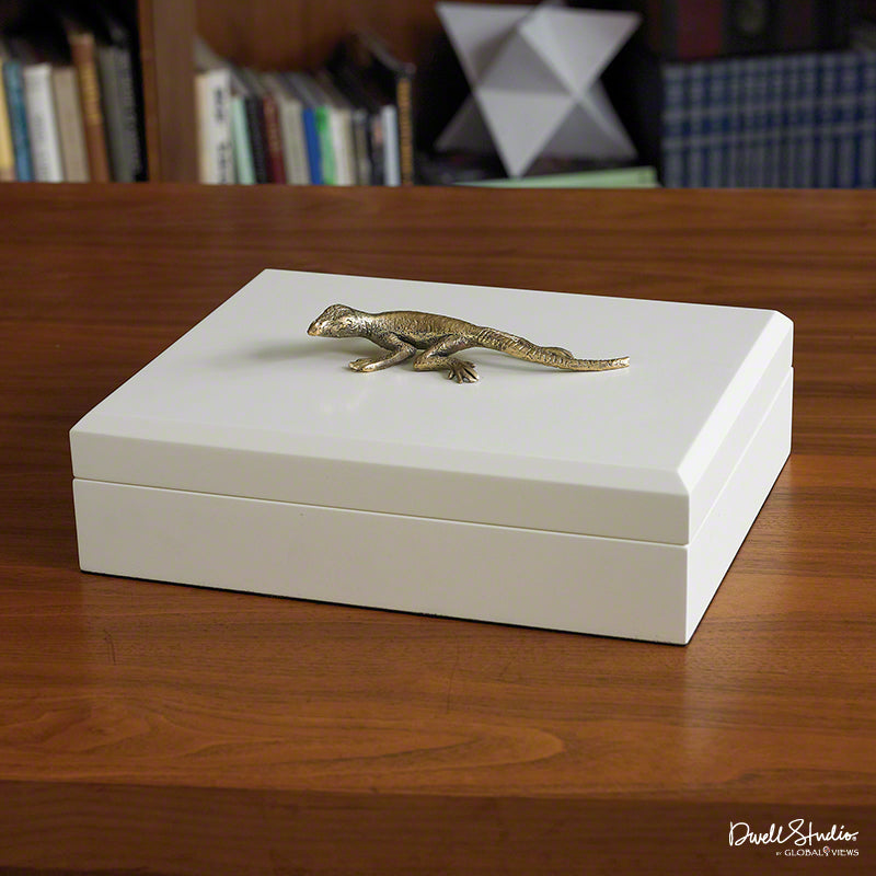 Global Views White and Gold Lizard Box