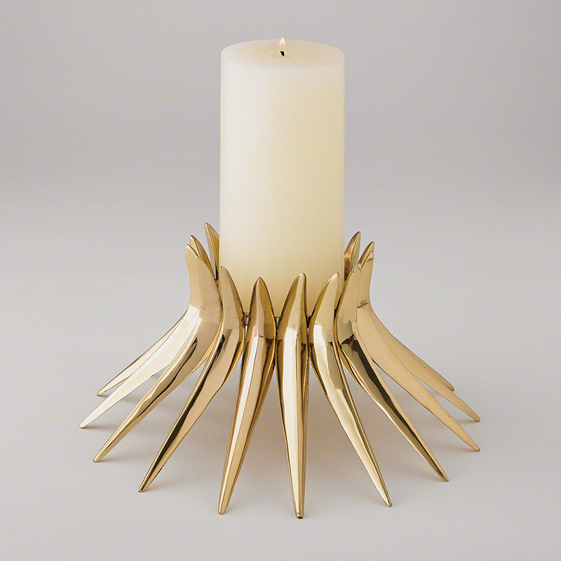 Global Views Corona Candle Holder Brass