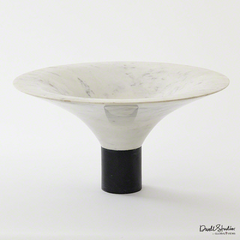Global Views Marble Flared Bowl, White