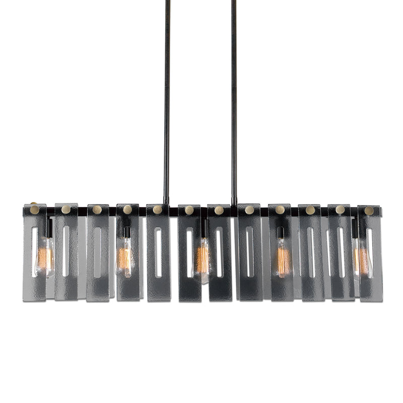 Everly 5 Light Smoke Glass Island