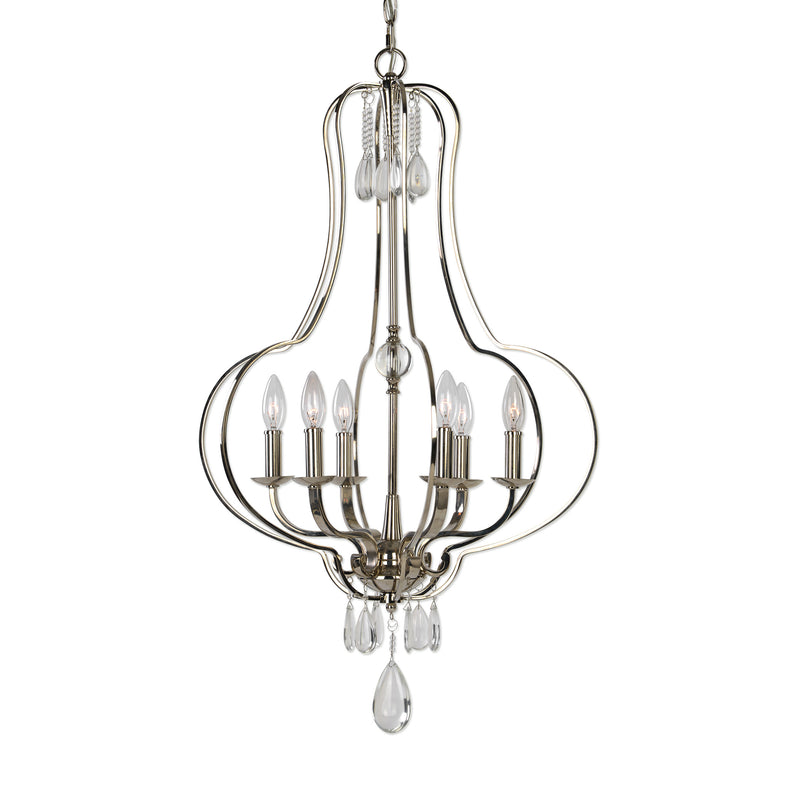 Genie 6 Light Polished Nickel Chandelier