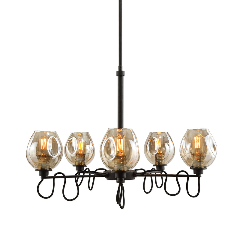 Fritz 5 Light Gold Glass Chandelier