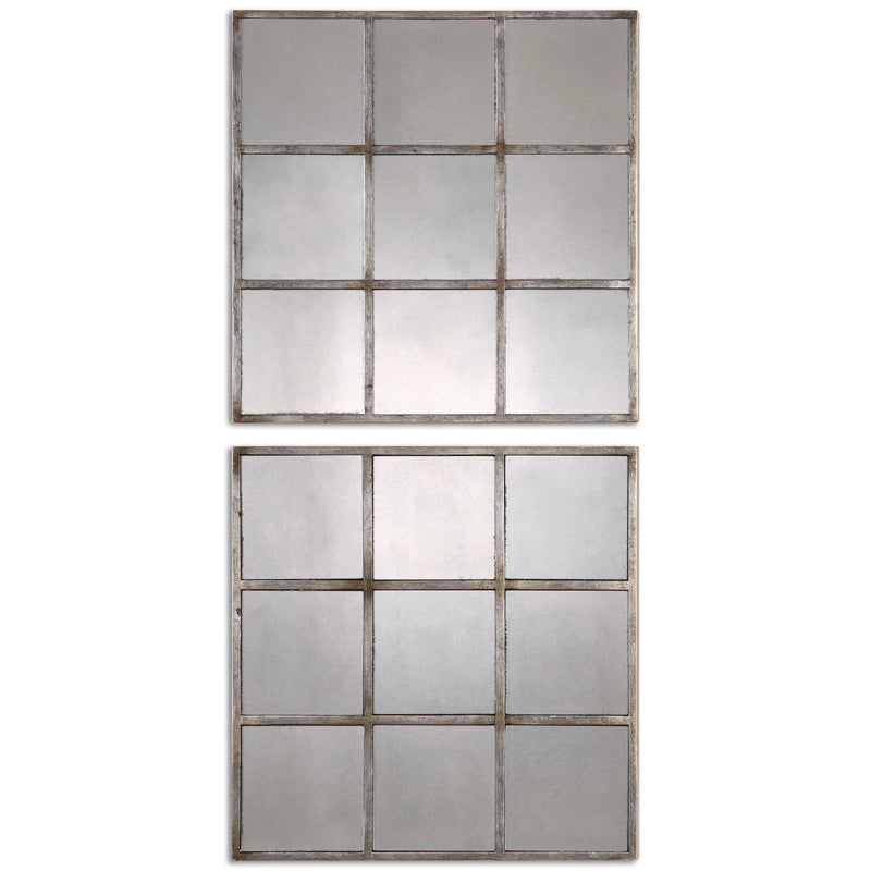 Derowen Squares Antique Mirrors S/2