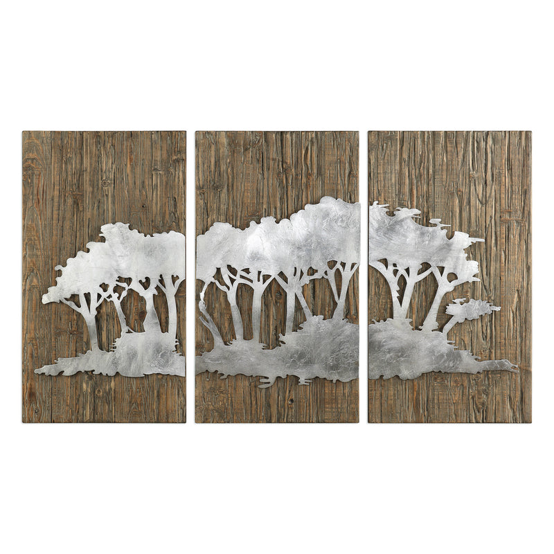 Safari Views Silver Wall Art S/3