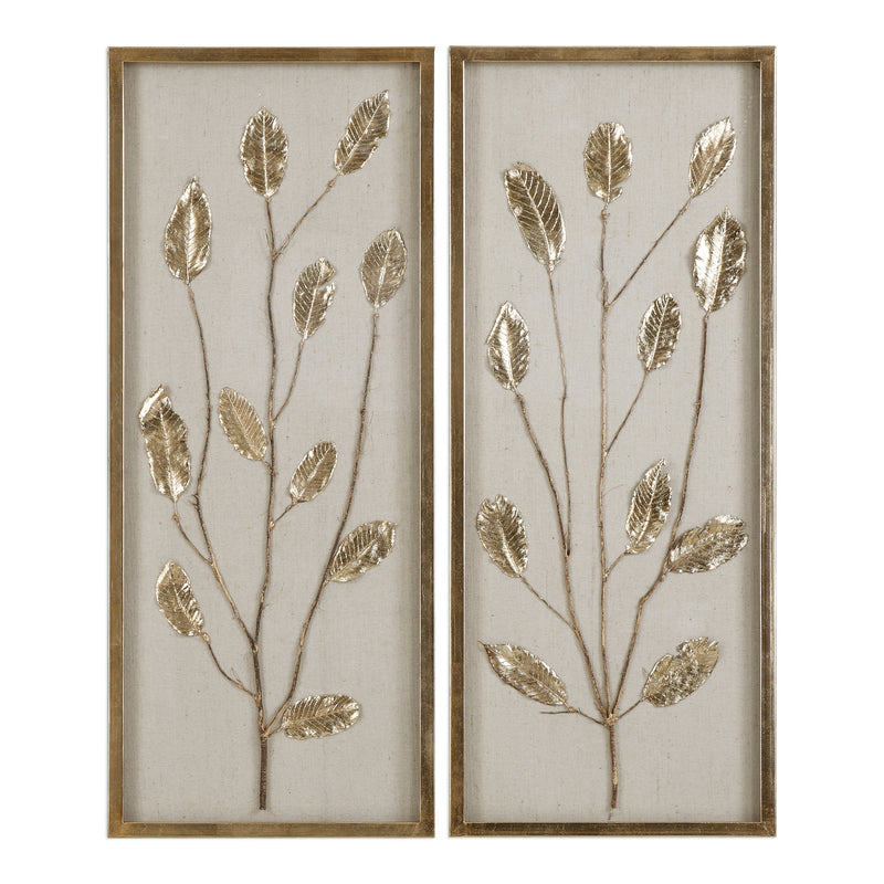 Branching Out Gold Leaf Panels Set/2
