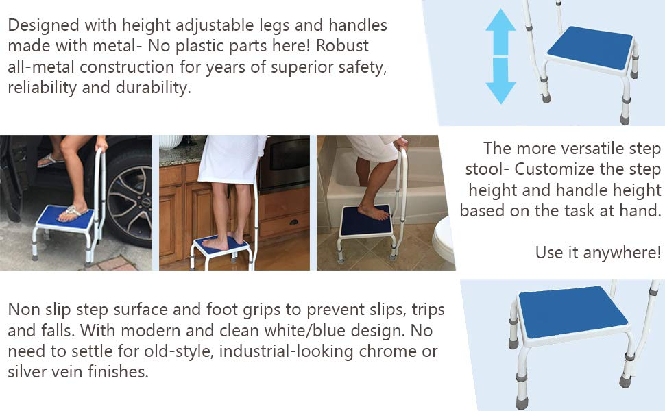 Tremendous Deluxe Step Stool Footstool With Dual Handrail Height Adjustable Cjindustries Chair Design For Home Cjindustriesco