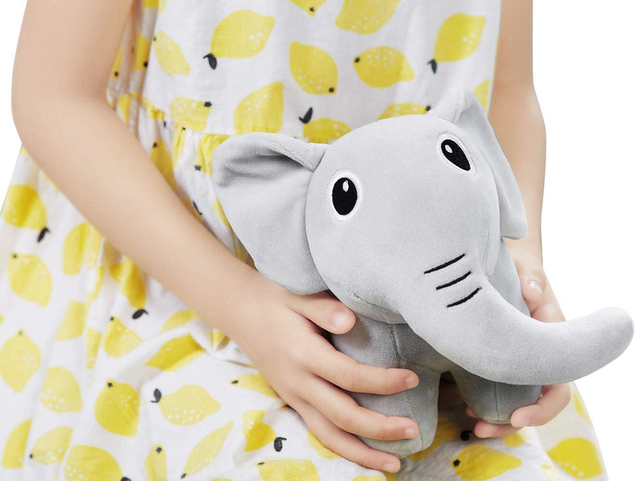 "iGuerburn 8.5"" Soft Cute Little Elephant Stuffed Animal Plush Toy for Infant Toddler Kids - Baby Girls and Boys Shower Gifts - Gray"