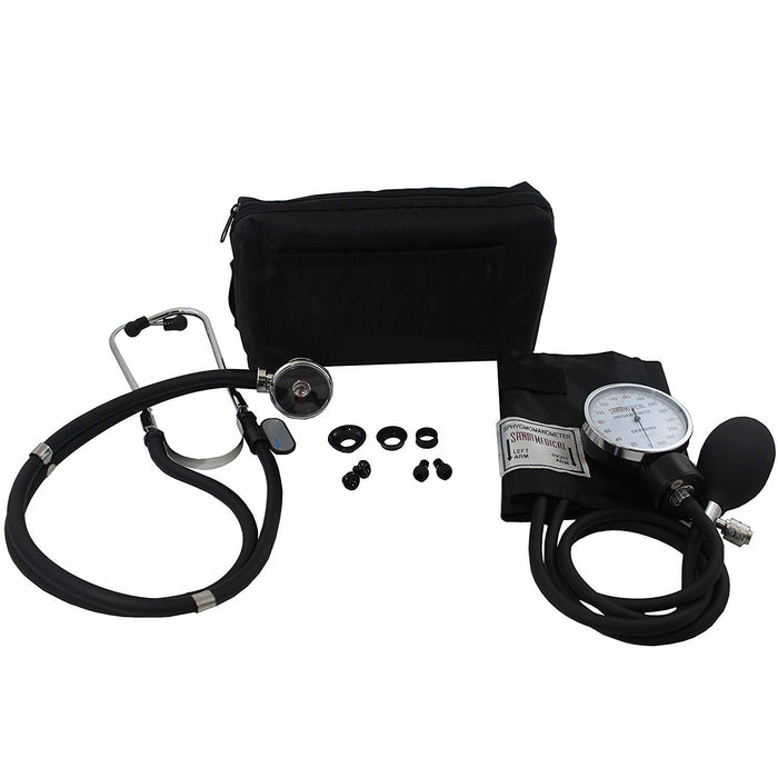 Adult Deluxe Aneroid Sphygmomanometer with Stethoscope, Cuff and Carrying case