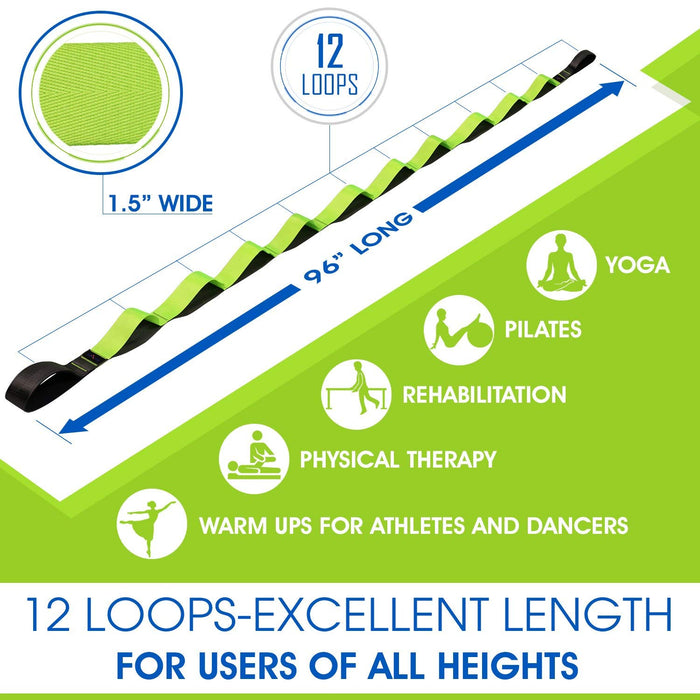 Stretching Strap Band with loops for Therapy, Fitness, Pilates Exercises, Yoga and Athletes, stretch strap
