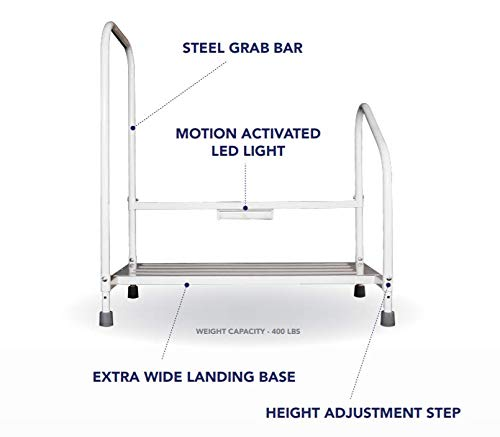 Excellent Bed Hand Rail Adjustable Height Bed Step Stool With Led Ocoug Best Dining Table And Chair Ideas Images Ocougorg