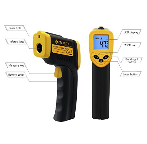 Lasergrip 1080 Non-Contact Digital Laser Infrared Thermometer Temperature Gun -58℉~1022℉ (-50℃~550℃), Yellow and Black