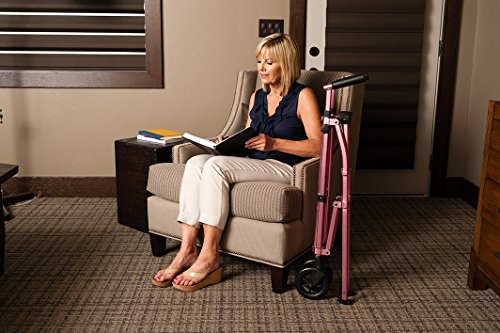 Space Saver Walker - Lightweight Folding & Height Adjustable Adult Travel Walker for Seniors + Fixed Wheels & Rear Glides