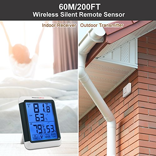 Digital Wireless Hygrometer Indoor Outdoor Thermometer with Jumbo Touchscreen