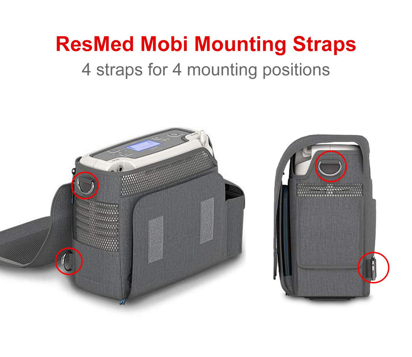 Mounting Straps for ResMed Mobi Portable Oxygen Concentrator with Adjustable Belt, Hook and Quick Clasp 4-Pack