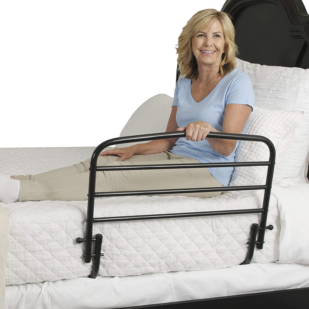 "Stander 30"" Adjustable Bed Rail for Home Elderly Adults Bedside Safety Bed Rai with Swing Down Assist Handle"